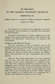 On the role of the Catholic university graduate by Paul VI Pope