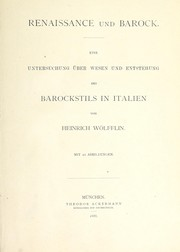 Cover of: Renaissance und Barock