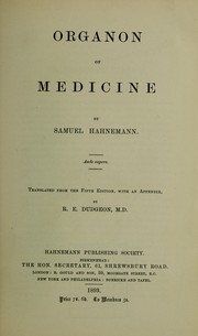 Cover of: Organon of medicine ...