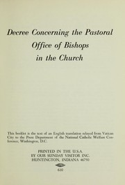 Cover of: Decree concerning the pastoral office of bishops in the church | Vatican Council (2nd 1962-1965 Basilica di San Pietro in Vaticano)
