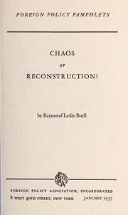 Cover of: Chaos or reconstruction?