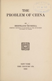 Cover of: The problem of China