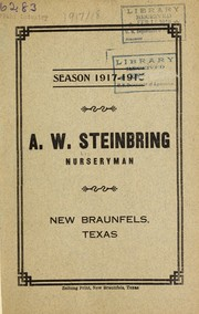 Season 1917-1918 [catalog] by A. W. Steinbring (Firm)