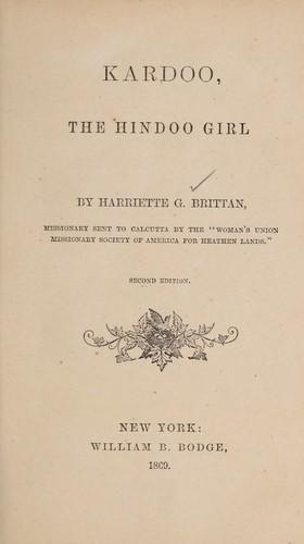 Kardoo, the Hindoo girl