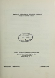 Cover of: Laboratory equipment and method for making nep tests on cotton samples | United States. Agricultural Marketing Service. Cotton Division