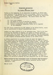 Cover of: Background information of the Indian situation today | United States. Federal Extension Service. Division of Home Economics Programs