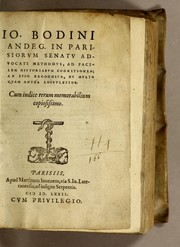 Cover of: Io. Bodini Andeg. in Parisiorum Senatu advocati methodus, ad facilem historiarum cognitionem