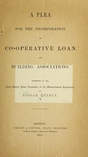 Cover of: A plea for the incorporation of co-operative loan and building associations