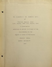 Cover of: The elements of the harmonic ratio | Winfield Hancock Stone