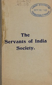 Cover of: The Servants of India society ... | Servants of India Society