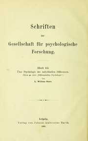 Cover of: ©ber Psychologie der individuellen Differenzen