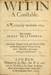 Cover of: Wit in a constable. | Henry Glapthorne