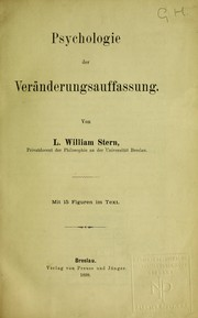 Cover of: Psychologie der Ver©Þnderungsauffassung