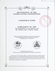 Cover of: Bicentennial of the United States Constitution | Department of Defense United States