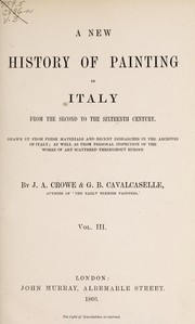 Cover of: A new history of painting in Italy | J. A. Crowe