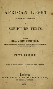 Cover of: African light thrown on a selection of scripture texts
