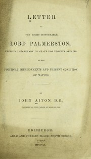 Cover of: Letter to the Right Honourable Lord Palmerston