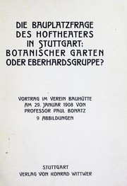 Cover of: Die Bauplatzfrage des Hoftheaters in Stuttgart