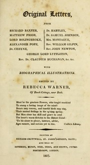 Cover of: Original letters from Richard Baxter, Matthew Prior, Lord Bolingbroke ... with biographical illustrations