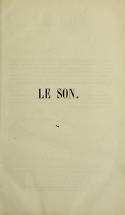 Cover of: Le son
