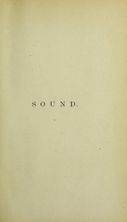 Cover of: Sound