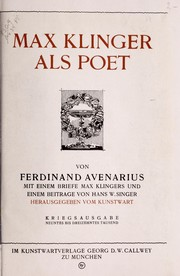 Cover of: Max Klinger als Poet