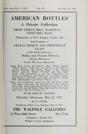 Cover of: American bottles; a private collection from Indian Hill, Martha's Vineyard, Mass