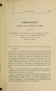 Cover of: Ordinances of the city of Hartford adopted since the publication of the revision of 1908 | Hartford (Conn.)