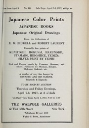 Cover of: Japanese color prints, Japanese books, Japanese original drawings
