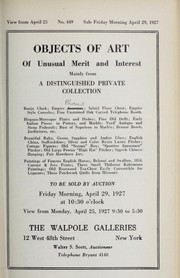 Cover of: Objects of art of unusual merit and interest, mainly from a distinguished private collection
