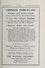 Cover of: Chinese porcelain, netsukes and sword guards, a few fine Chinese paintings, screen, brocades, rare Korean objects of art, Japanese paper and ink in quantities, Japanes armor and swords ...