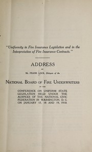 Cover of: Uniformity in fire insurance legislation and in the interpretation of fire insurance contracts