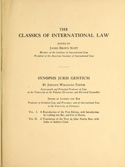 Cover of: Synopsis of the law of nations : volume two the translation