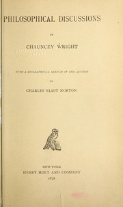 Cover of: Philosophical discussions | Chauncey Wright