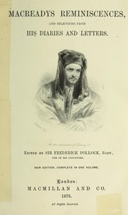 Cover of: Macready's reminiscences