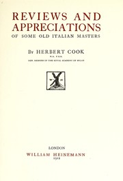 Cover of: Reviews and appreciations of some old Italian masters
