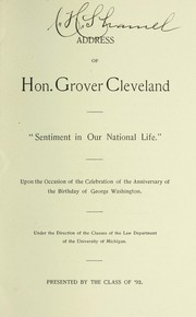 Cover of: Address of Hon. Grover Cleveland