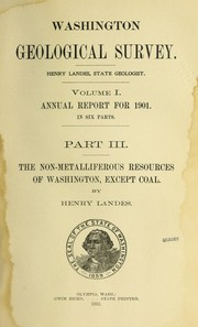 Cover of: The non-metalliferous resources of Washington, except coal