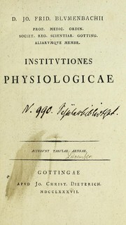 Cover of: Institutiones physiologicae ...