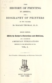 Cover of: The history of printing in America