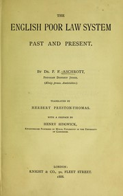 Cover of: The English poor law system, past and present | P. F. Aschrott
