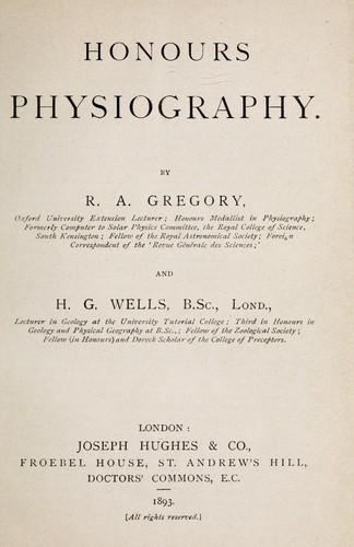 Honours physiography by Gregory, Richard Sir