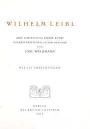 Cover of: Wilhelm Leibl