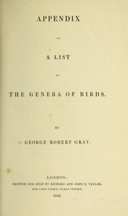 Appendix to A list of the genera of birds