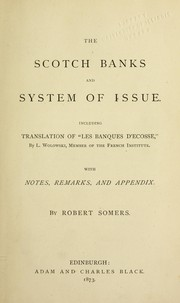 Cover of: The Scotch banks and system of issue | Robert Somers