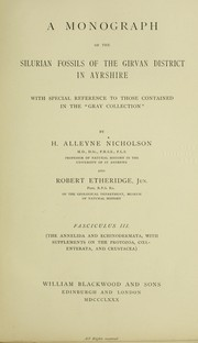 "Cover of: A monograph of the Silurian fossils of the Girvan district in Ayrshire: with special reference to those contained in the ""Gray collection"""