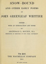 Cover of: Snow-bound, and other early poems of John Greenleaf Whittier