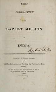 Cover of: Brief narrative of the Baptist Mission in India