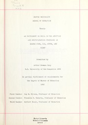 Cover of: Experiment in drill in the addition and multiplication processes in grades five, six, seven, and eight | Arthur Newman Gray