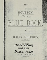 Cover of: The Houston blue book |